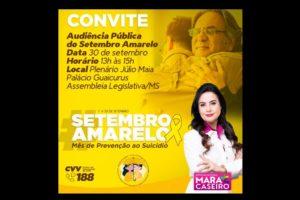 Setembro Amarelo: Mara Caseiro promove evento para debater prevenção ao suicídio